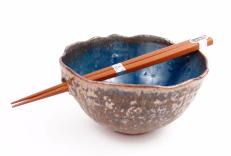 Wavy Chopstick Bowl in Blue w/ Copper