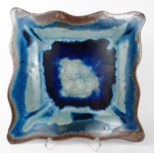 Rectangle Platter in Blue w/ Accents