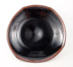 Lopsided Squared-Off Plate in Black & Copper