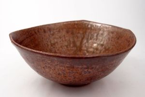 Lopsided Squared-Off Bowl in Copper