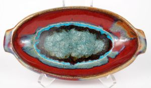 Oval Dish in Red w/ Accents