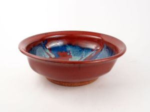 Shallow Bowl in Red w/ Accents