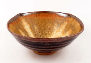 Squared-Off Bowl in Black & Sienna