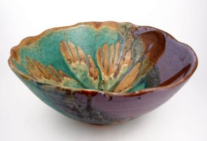Wavy-Edged Bowl in Purple & Green