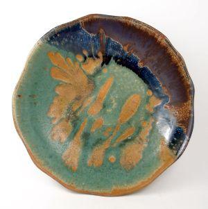 Wavy-Edged Plate in Purple & Green