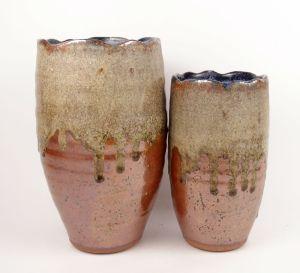 Wavy-Edged Vase in Blue & Copper
