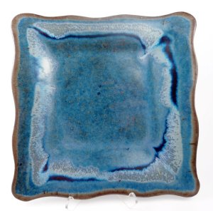 Square Wavy-Edged Tray in Blue w/ Accents