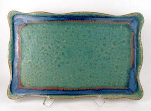 Rectangle Wavy Tray in Green w/ Accents
