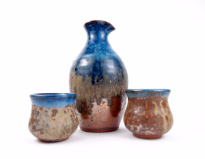 Sake Set in Blue & Copper