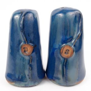 Salt and Pepper Set in Blue w/ Accents